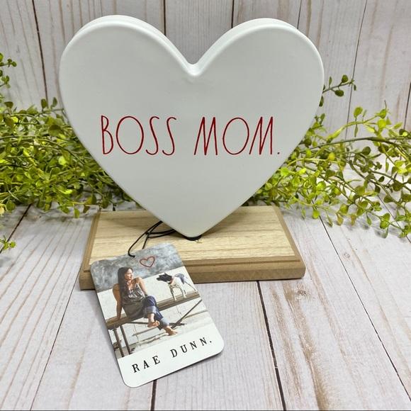 Rae Dunn Boss Mom Heart Decor Wood Frame NWT